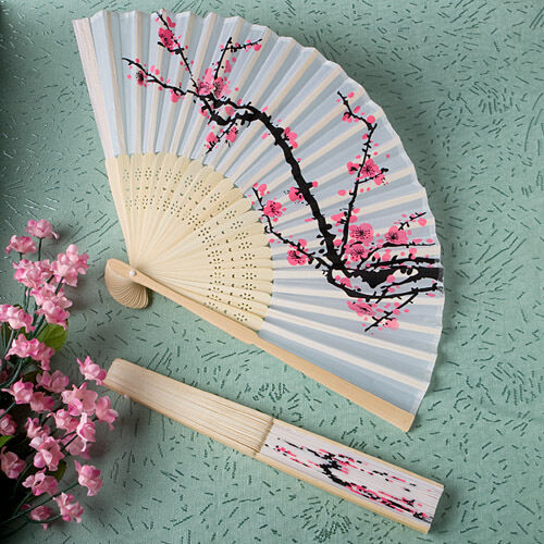 Cherry Blossom Design Silk Folding Fans Party Wedding Favors Set Of 30 Ebay
