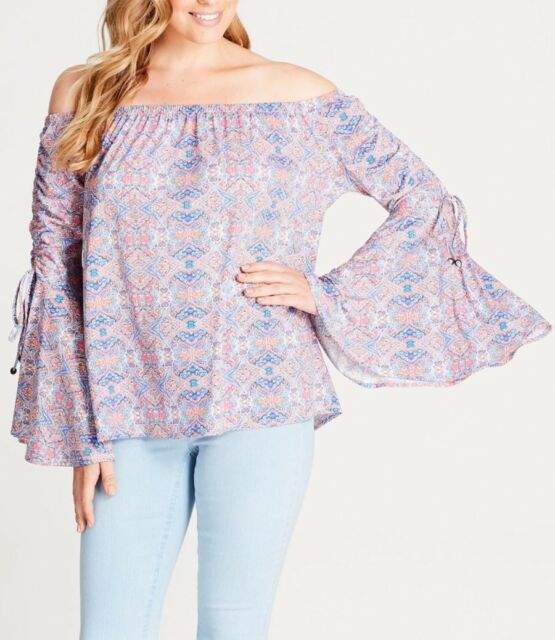 Crossroads Off The Shoulders Bell Sleeve Paisley Print Top Size 16 (Free Post)