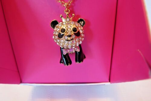 Betsey Johnson Gifting Gold Tone Crystal Panda With Crown Pendant NIB 60/% OFF