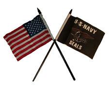 "USA American w/ U.S. Navy Seals Flag 4""x6"" Desk Set Gold Base"