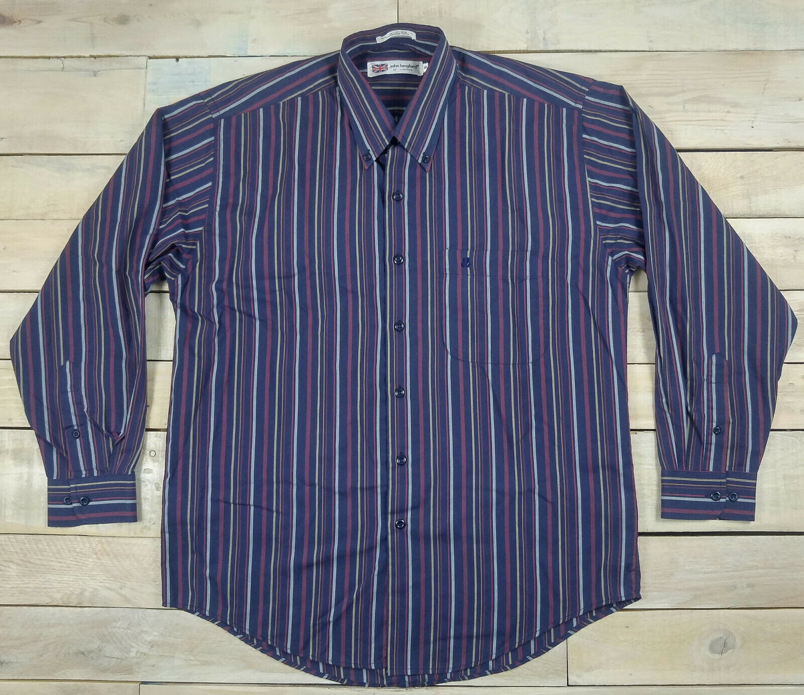 John Langford Of London Striped Long Sleeve Shirt Size M Egyptian Yarn Ebay