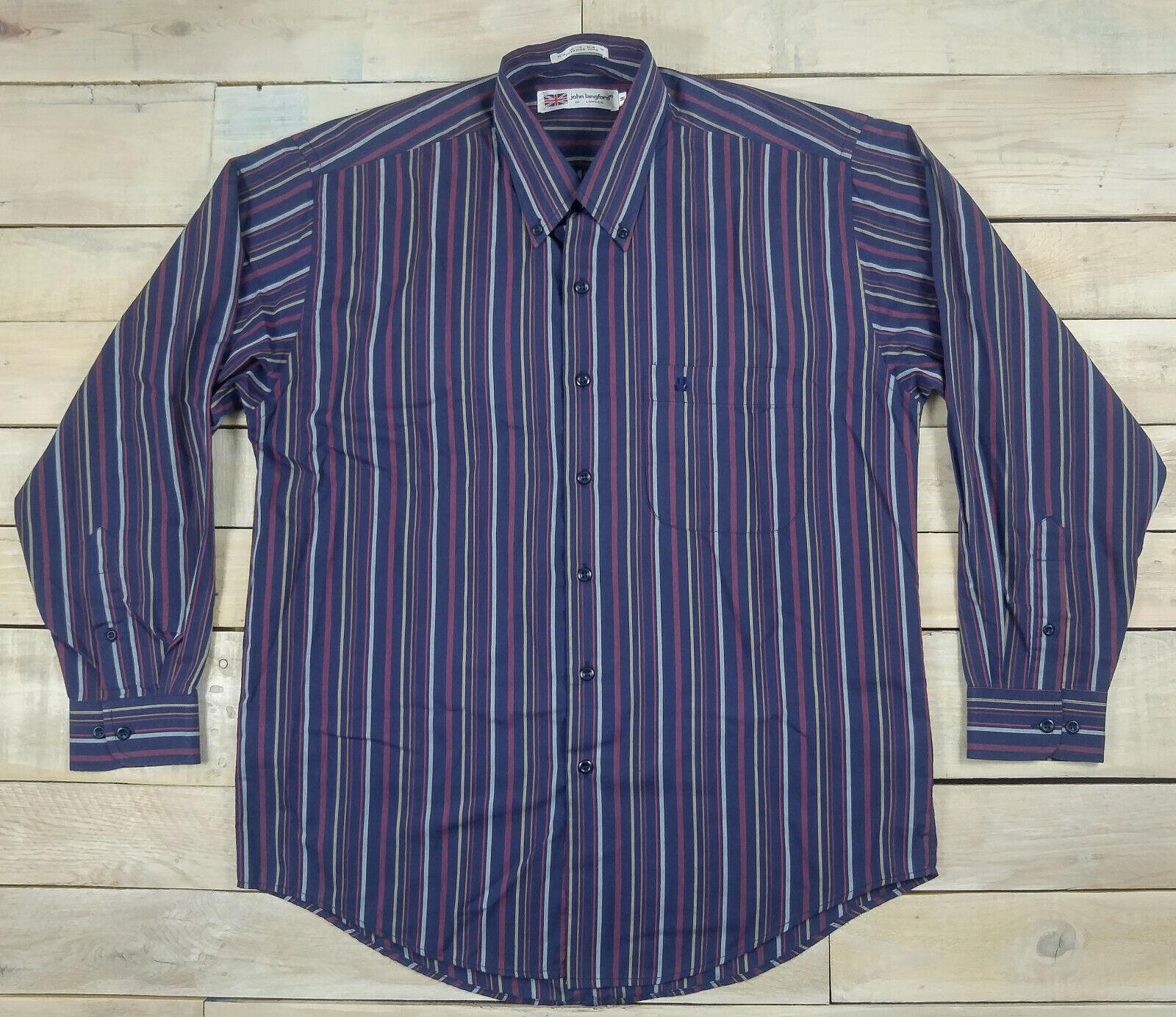 John Langford Of London Striped Long Sleeve Shirt Size M Egyptian Yarn Ebay