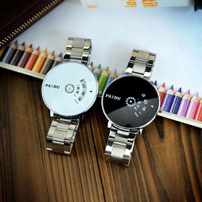 Unique Women Men Watch Big Dial Stainless Steel Band Quartz Wrist Watch Gift New