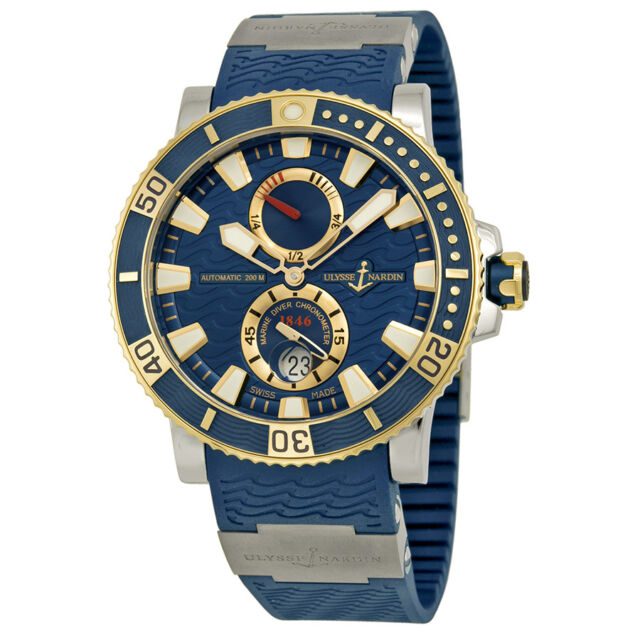 Ulysse Nardin Marine Diver Blue Dial Titanium and 18kt Yellow Gold Mens Watch