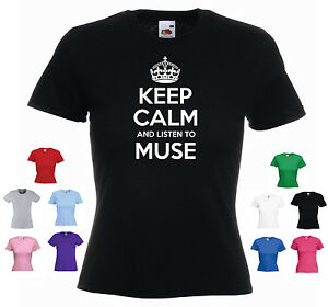039-Keep-Calm-and-Listen-to-Muse-039-Rock-Band-Ladies-Girls-Funny-T-shirt-Tee