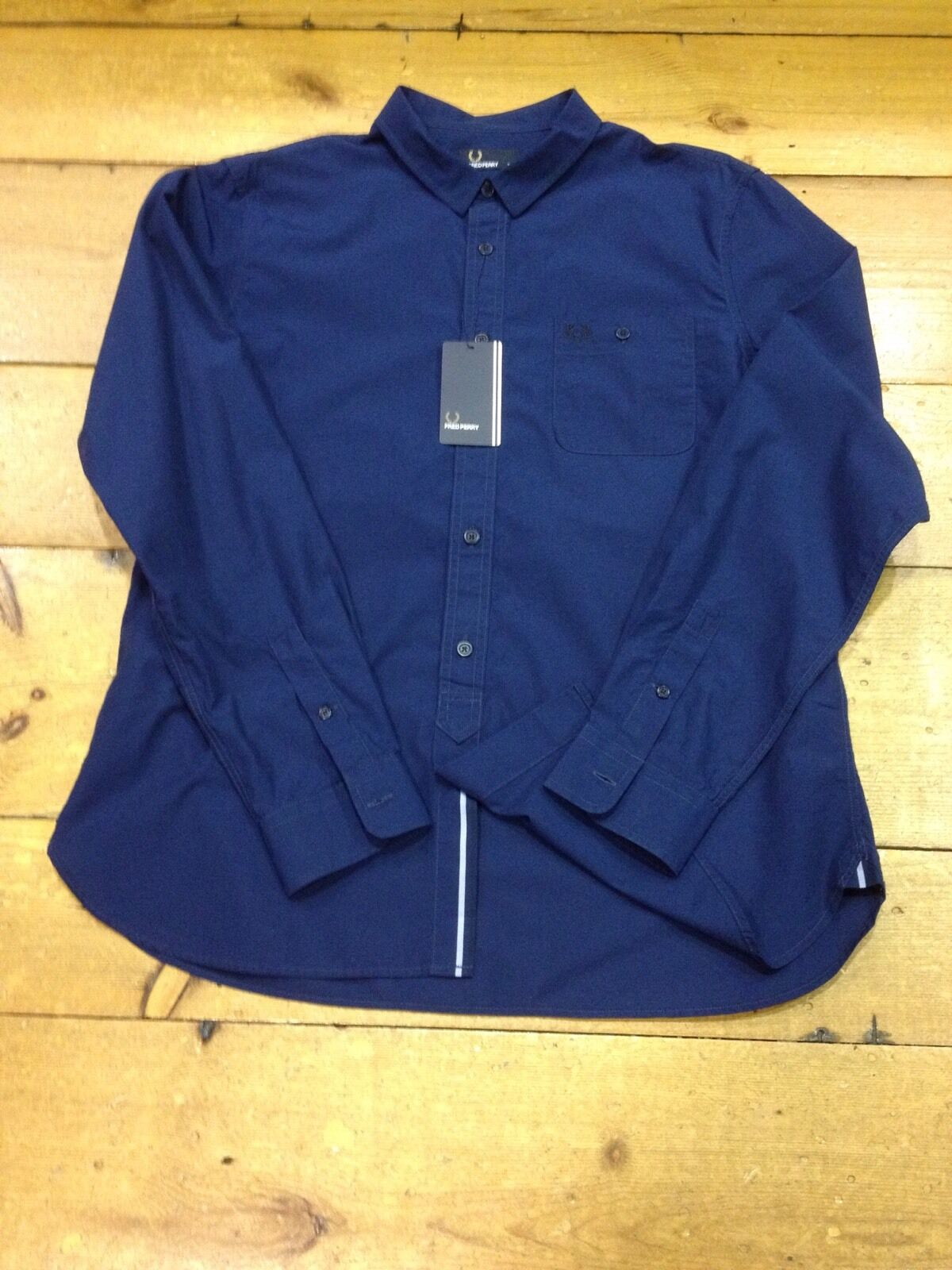 Fred Perry Long Sleeve Shirt Concealed Tipped Trim Medieval bluee - M