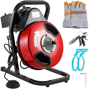 250W-Electric-Drain-Cleaner-Rigid-Plumbing-Auger-Eel-Pipe-Sewerage-5-Cutters
