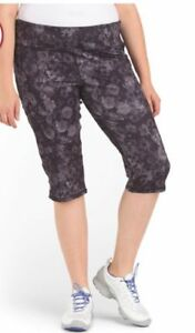 RBX-ACTIVEWEAR-NEW-40-Capri-Yogo-Pants-Black-Floral-Print-Plus-2X