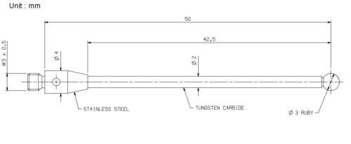 CMM Touch Probe M3 Thread Probe Stylus 3mm Ruby Ball Tips 50mm Long A-5003-0059