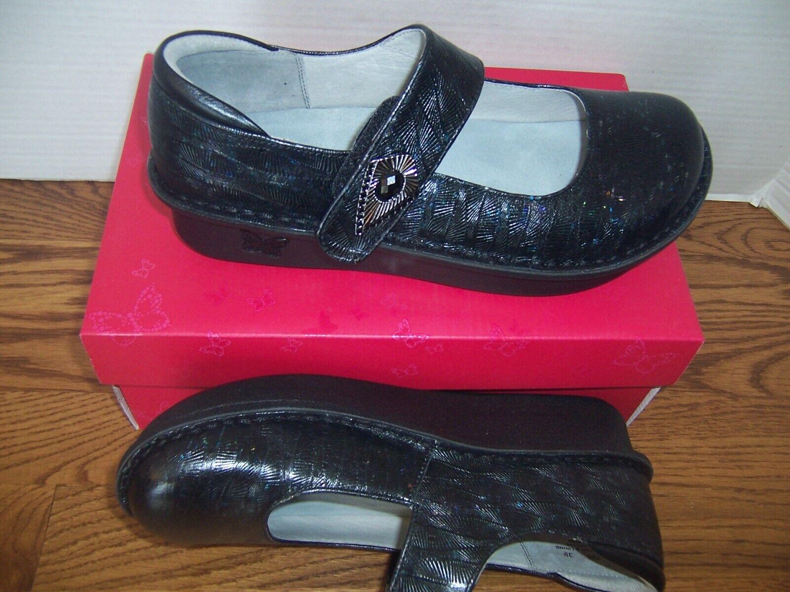 NEW ALEGRIA Paloma nero Rainbow Connection donna Mary Jane scarpe 38 US 8M