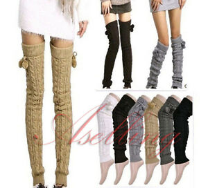 427111db466ac Crochet Knit Thick Warmer Long over Knee High Hosiery Stocking Boot ...