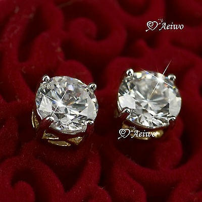 18K YELLOW WHITE GOLD GF STUD MADE WITH SWAROVSKI CRYSTAL EARRINGS 6MM