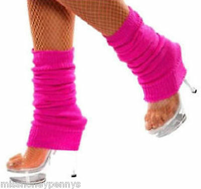 Neon Pink Legwarmers 80's Fancy Dress Hen Party Fun Run Ladies Dance Gym Yoga