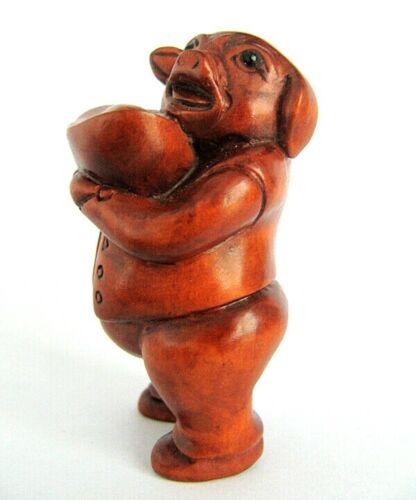 "Q4061-2 /"" Hand Carved Japanese Boxwood Netsuke Wealthy Pig"