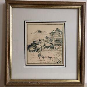Vintage-1939-Original-Seascape-Pencil-Drawing-signed-A-Hausker