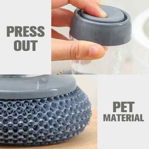 Scrubber Soap Dispense Wash Brush Cleaning Pan Pot Dish Bowl Kitchen Tool