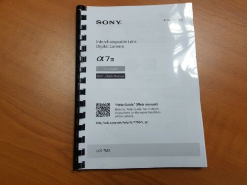 SONY SLT A7 MK III CAMERA  INSTRUCTION MANUAL USER GUIDE 100 PAGES A5 Basic
