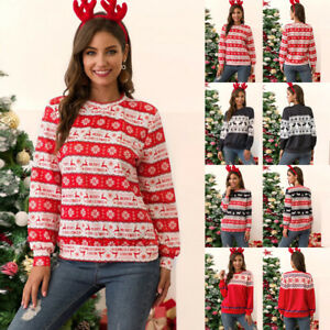 Women-Christmas-Round-Neck-Sweater-Print-Casual-Pullover-Tops-Winter-Outwear-New