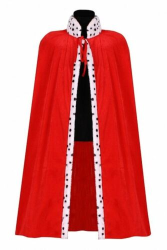 Enfants Roi Chef Cape Casquette Rouge Blanc 80 CM Long Panne de Velours Costume