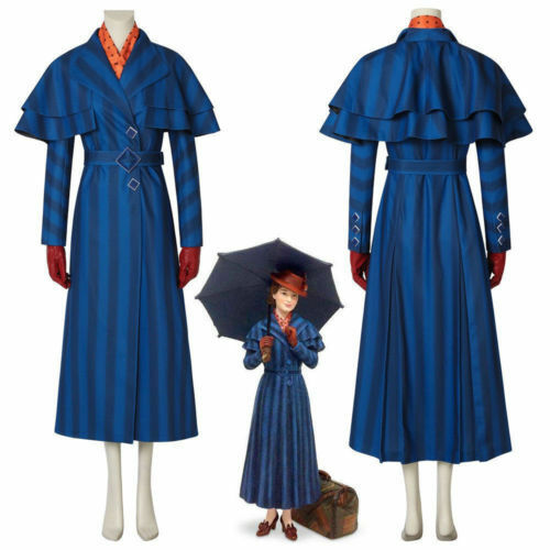 2018 Mary Poppins Returns Mary Poppins Cosplay Costume Blue Dress