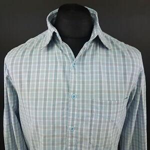 Wrangler-Mens-Casual-Shirt-MEDIUM-Long-Sleeve-Blue-Regular-Fit-Check-Cotton
