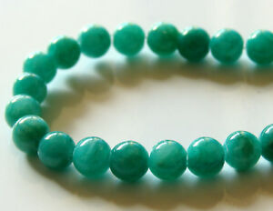 50pcs-6mm-Round-Gemstone-Beads-Malaysian-Jade-Opaque-Teal