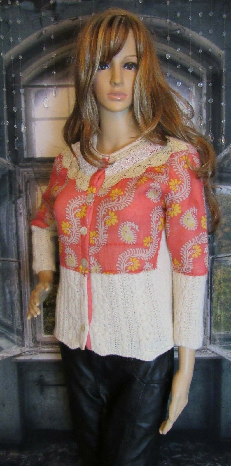 Free People People People Ivory Tangerine Mesh Layer Floral Print Sweater Size Medium Cute b0e287