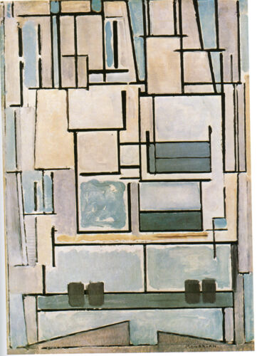 CANVAS OR PRINT WALL ART Blue Facade Mondrian