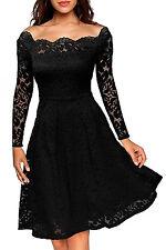 New Classy Black Floral Lace Off Shoulder Long Sleeve Skater Dress 8 10 12 14 UK