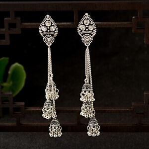 Women-039-s-Bell-Gypsy-Gemstone-Tassel-Bead-Jhumka-Indian-Charm-Drop-Tassel-Earrings