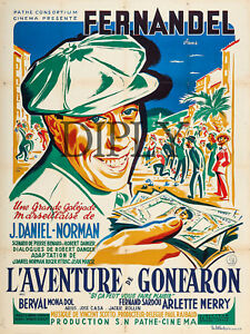 PLAQUE ALU DECO AFFICHE CINEMA FERNANDEL LE SCHPOUNTZ MARCEL PAGNOL 1938