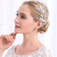 Silver Floral Vine Bridal Halo Crystal Beaded Headdress Wedding Headpiece 1piece