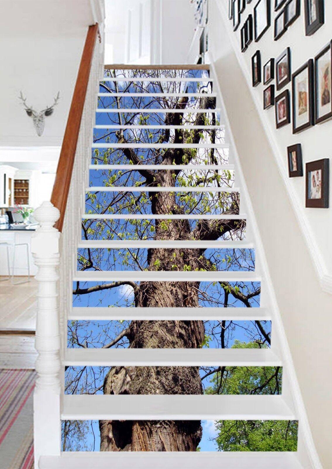 3D Bule Sky Trunk Stair Risers Decoration Photo Mural Vinyl Decal Wallpaper UK