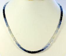 SAPHIR KETTE edelsteinkette Fecettierte Saphirkette Schön blau weiße saphire   .