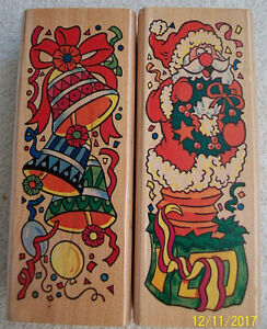 Rubber-Stamp-Christmas-Santa-Claus-Father-Christmas-Bells-C1
