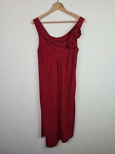 QLV Soho VINTAGE AU MADE Red Cowl Neck Wrap Asymmetrical Dress Women's Size 10