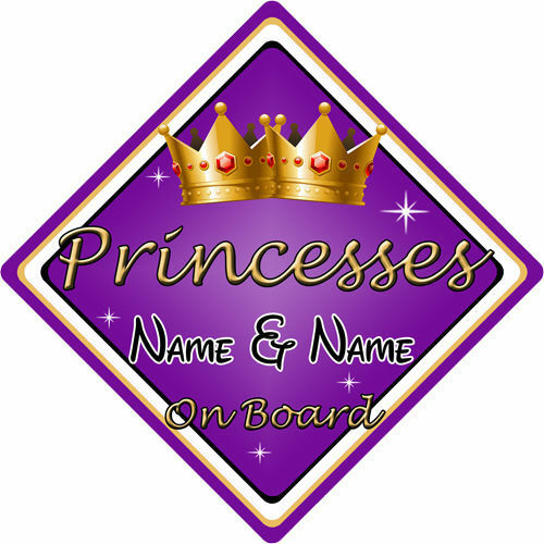Personalised Child//Baby On Board Car Sign ~ Princesses On Board ~ Purple