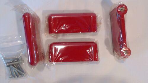 Vintage CON/&CON 4x Schaubladengriffe Rot Möbelgriffe Schrankgriffe Retro L=80mm