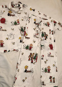 Peanuts Flannel Youth M 2 Piece Pajama Set Ebay