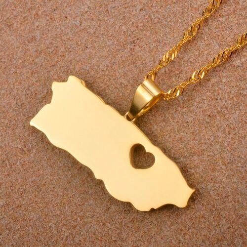 Puerto Rico avec cœur carte Pendentif Colliers Couleur Or Plaqué Bijoux Cadeaux