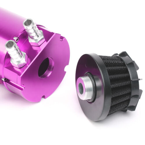 Purple Aluminum Cylinder Oil Reservoir Catch Tank Can w//Breather Filter Baffled