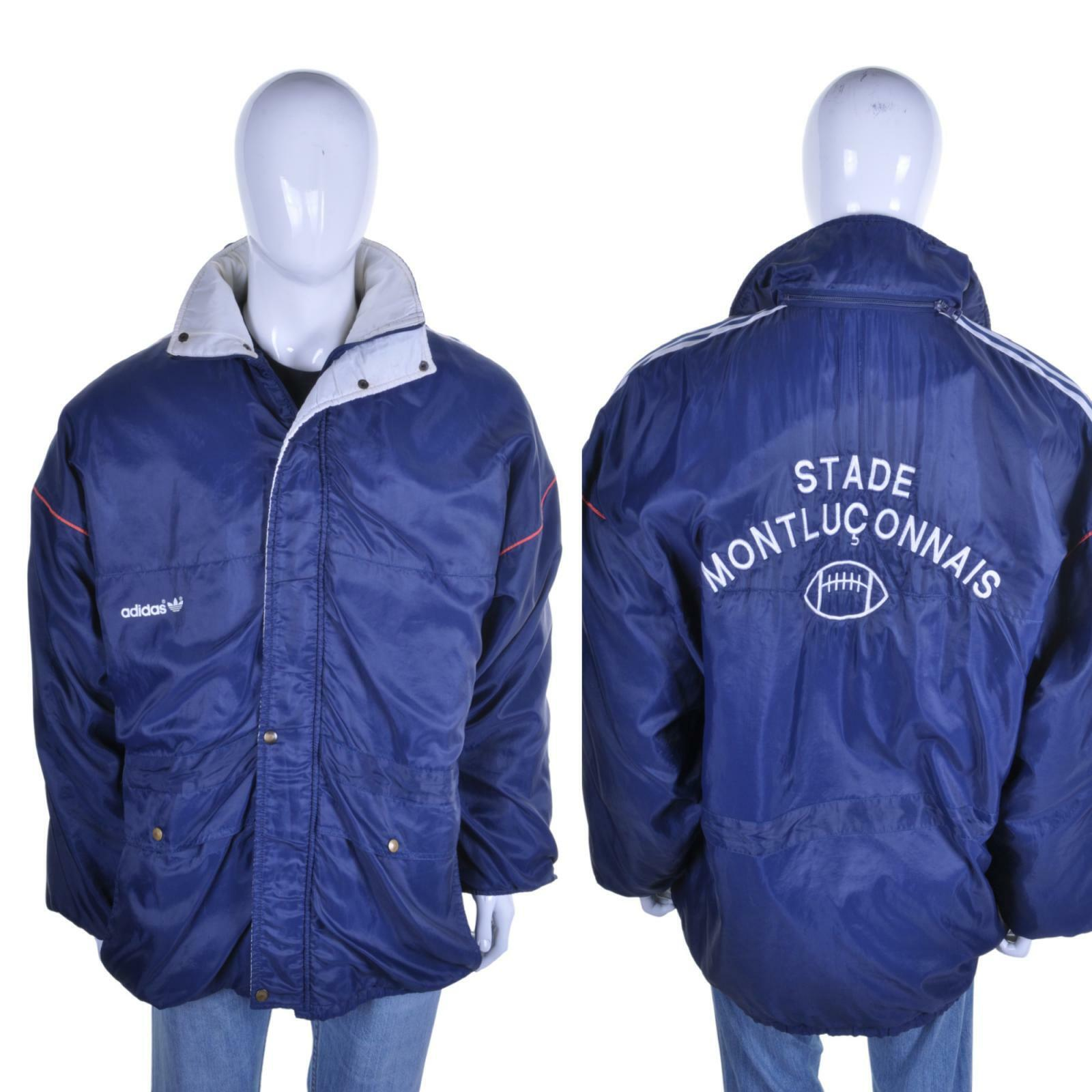 Adidas Vintage 70s/80s Tre Righe Cappotto XL Stade Montluconnais Rugby Giacca