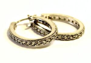 Beautiful-Sterling-Silver-925-CZ-Diamonique-Hoops-Earrings