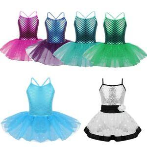 Girls-Mermaid-Ballet-Dance-Costume-Fancy-Dancewear-Tutu-Skirt-Gymnastics-Leotard