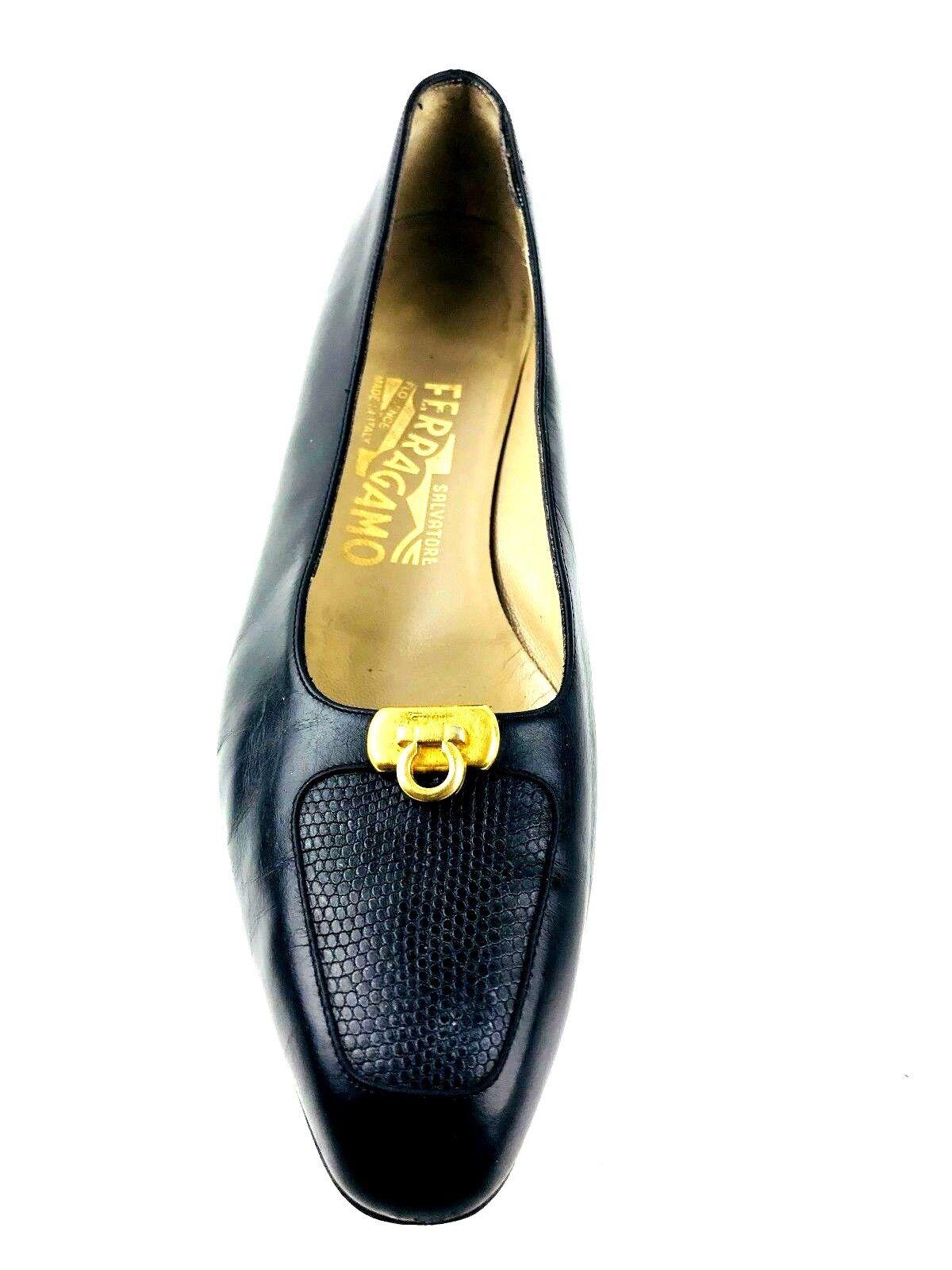 Salvatore Ferragamo Clásico Para Mujer Zapatos De Salón Salón Salón Negro nos EU. 8. 38.5. UK.6  diseñador en linea