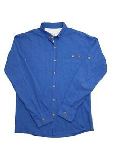 Fred-Perry-Men-039-s-Long-Sleeve-Check-Blue-Shirt-Size-L
