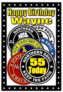 NORTHERN SOUL (PATCHES) - HAPPY BIRTHDAY PERSONALISED CARD (ANY AGE & NAME) NEW