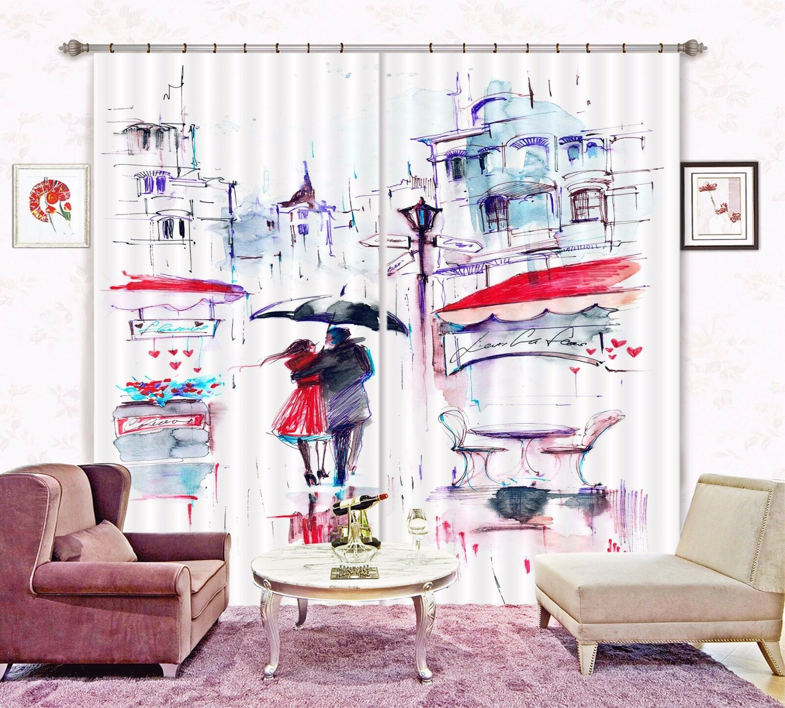 3D amor romántico 4 cortinas de tela de impresión de cortina de foto Blockout Ventana CA Carly