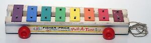 Vintage-1964-Fisher-Price-Pull-A-Tune-Original-Wooden-Version