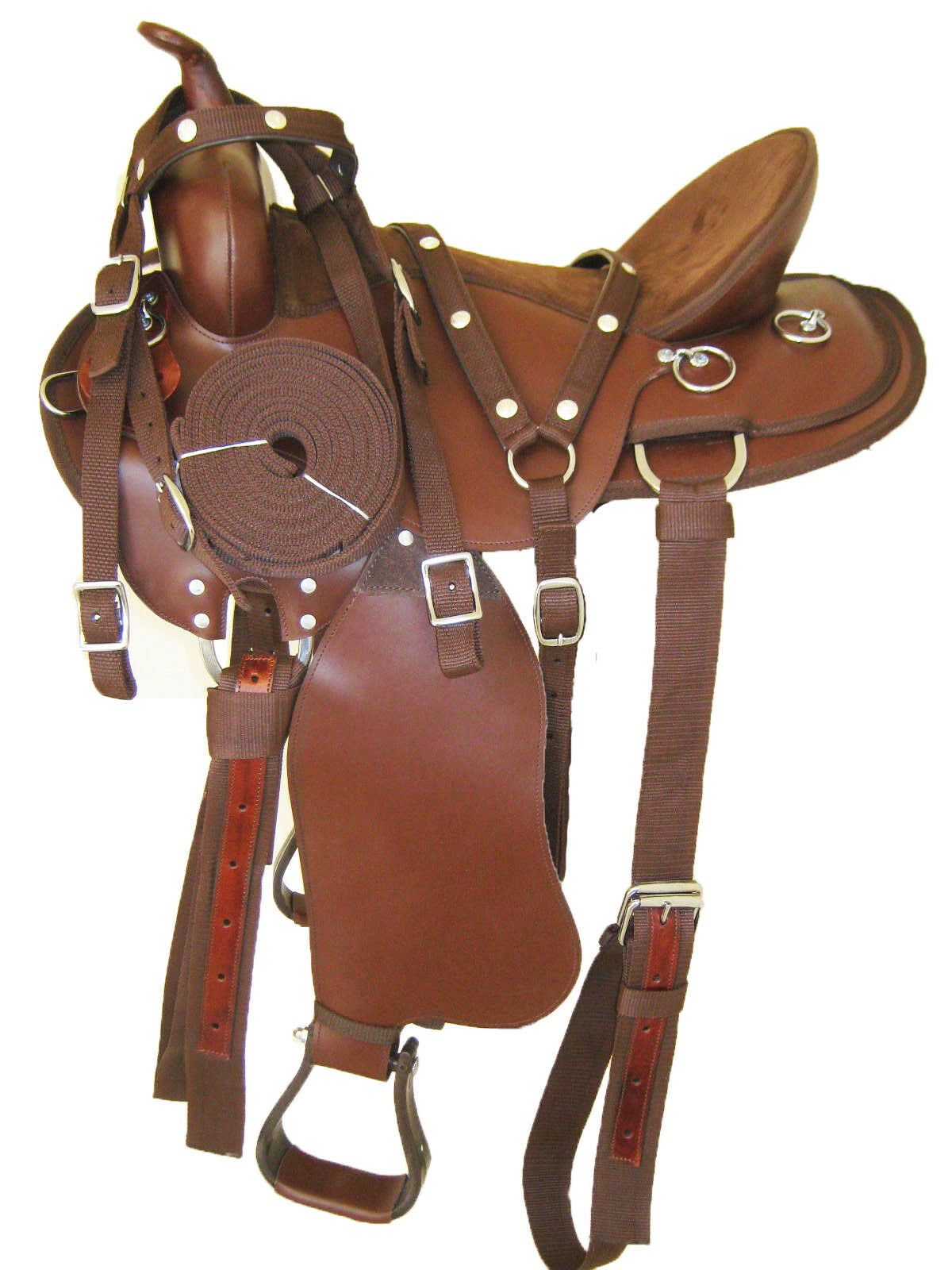 'THSL'  WESTERN GAITED HORSE SYNTHETIC SADDLE PKG 1717.5 TAN Marronee 1011BR